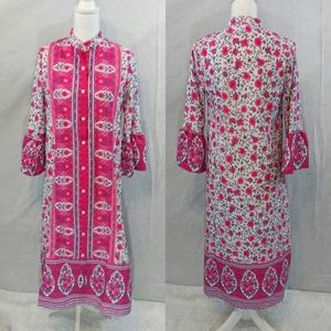 MissLook Button Down Boho Floral Pink Dress Small
